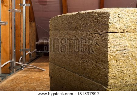 home attic insulation with rock wool metal profiles