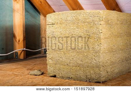 home attic insulation with soft rock wool