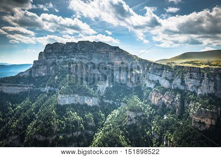 Pyrenees Mountains landscape - Anisclo Canyon in summer. Huesca Spain