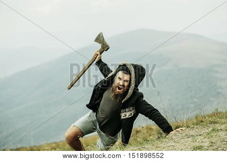 Brutal Man Lumberjack With Axe