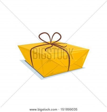 Cardboard box tied with a ribbon, parcel logo, surprise vector illustration