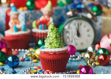 Christmas Cupcake With Colored Decorations