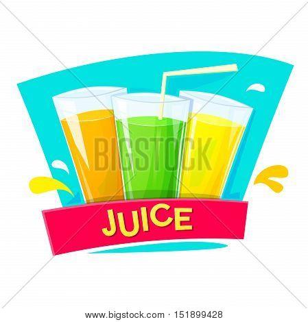 Juice concept design, logo production of refreshing drinks, vector illlustration