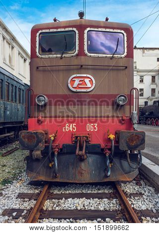 Trieste - March 2016, Italy: Electric locomotive in Railroad Museum (Museo Ferroviario di Trieste), front view