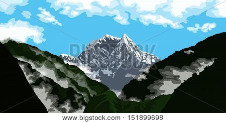 picture of a mountain peak with clouds trekking and climbing banner concept