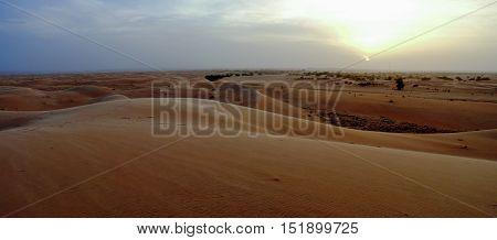 Panorama of Chinguetti dunes at sunset Mauritania
