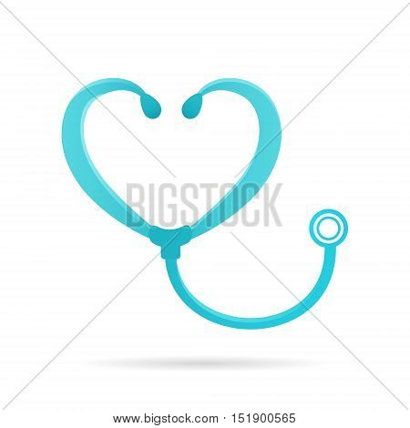stethoscope logo sign medical icon forme heart shape 2d vector illustration isolated on white background eps 10