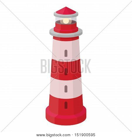 Lighthouse icon in cartoon style isolated on white background. Light source symbol vector illustration