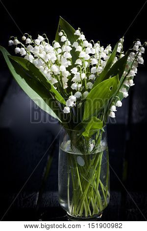 lily of the valley in a glass vase