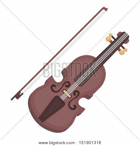 Violin icon in cartoon style isolated on white background. Musical instruments symbol vector illustration