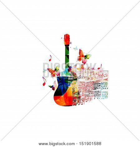 Creative music style template vector illustration, colorful guitar, music instrument with music staff and notes background. Poster, brochure, banner, concert, music festival, music shop design