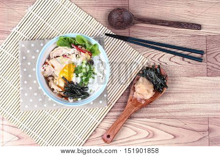 Jasmine rice is topped soft boil eggs and fried pork in Japanese style  as