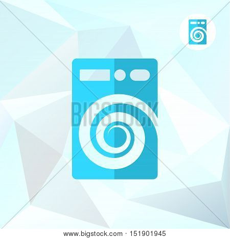 Washer machine logo on mosaic triangular background cleaning and purification concept logo 2d vector illustration eps 10