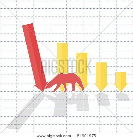 Graph of falling sales and demand bears trend on stock market 2d business vector illustration on grid background eps 10