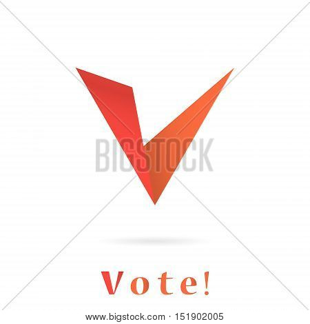 V letter icon elections concept illustration 2d vector sign isolated on white background eps 10