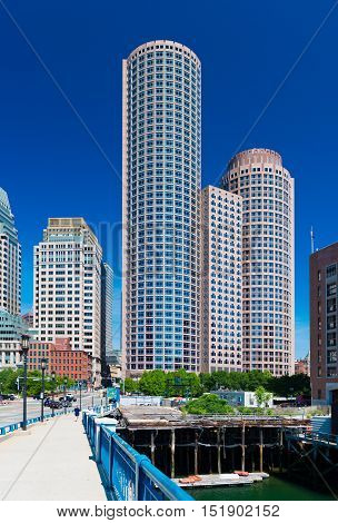 Boston, MA - June 2016, USA: View of skyscrapers in financial district and James Hook Lobster House