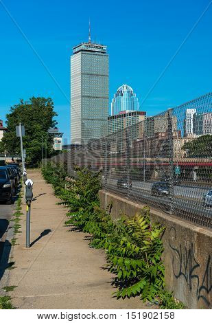 Boston, MA - July 2016, USA: The Highest Boston skyscraper Prudential Tower, view from sidewalk near the highway