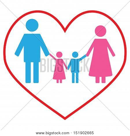 Love family concept banner. Happy family and couple with kids. Vector illustration
