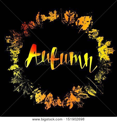 Autumnal round frame. Wreath of autumn leaves. Background with hand drawn autumn leaves. Fall of the leaves. Sketch, design elements. Vector illustration.