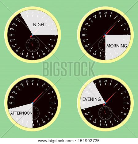 Clock hours time of day morning afternoon evening night. Watch cycle icon day and night. Vector illustration