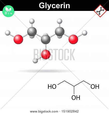 Glycerol chemical formula and model sugar alcohol structure 2d and 3d vector illustration isolated on white background eps 8