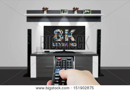 Tv Ultra Hd. 8K Television Resolution Technology.