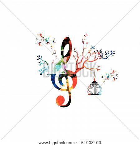 Creative Music Template Vector Illustration Colorful G Clef With