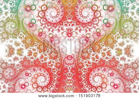 Abstract intricate spiral ornament on white background. Symmetrical pattern. Fantasy fractal design in bright red orange yellow and green colors.