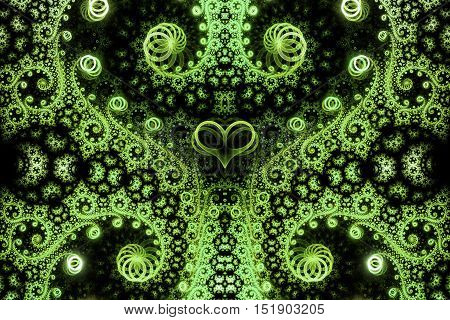 Abstract intricate spiral ornament on black background. Symmetrical pattern. Fantasy fractal design in bright green colors.