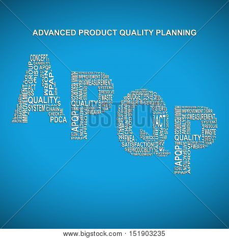 Advanced product quality planning diagonal typography background. Blue background with main title APQP filled by other words related with advanced product quality planning method