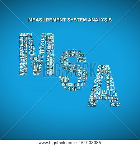 Measurement system analysis diagonal typography background. Blue background with main title MSA filled by other words related with measurement system analysis method
