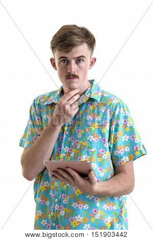 Young Man In Hawaii Dress With Tablet Computer