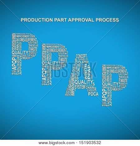 Production part approval process diagonal typography background. Blue background with main title PPAP filled by other words related with production part approval process method