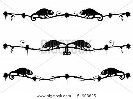set of vector dividers with chameleon in black and white