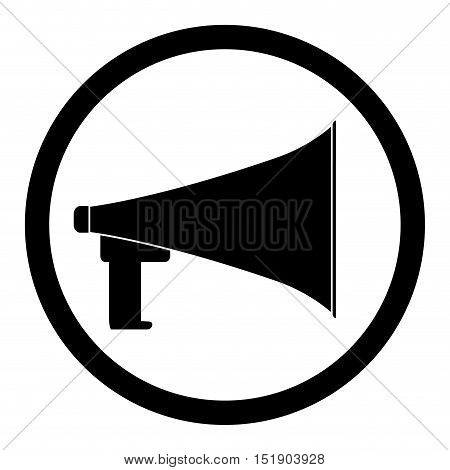 Loudspeaker black icon. Megaphone and speaker amplifier and loudspeaker isolated. Vector illustration