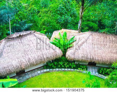 Bali, Indonesia - April 13 2012 View of bungalows at Nandini Bali Jungle Resort and Spa.