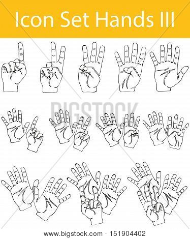 Drawn Doodle Lined Icon Set Hands Iii