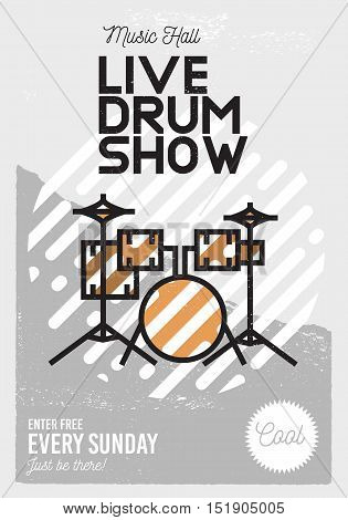 Live Drum Show Minimalistic Cool Line Art Event Music Poster. Vector Design. Front View Drums Icon.