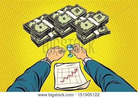 Successful retro businessman drinking about a big profit, pop art retro vector illustration