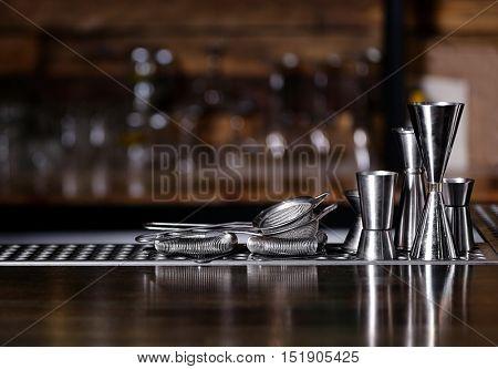 Barman equipment on counter