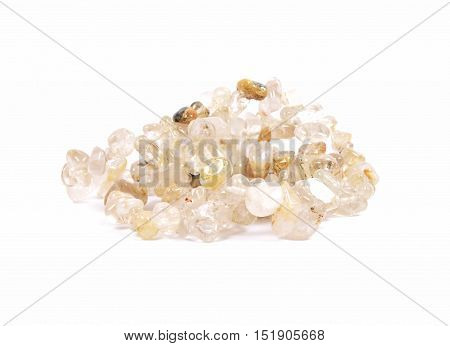Colorful and crisp image of splintered citrine chain on white background