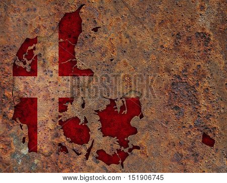 Map and flag of Denmark on rusty metal