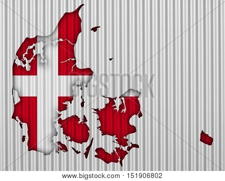Map and flag of Denmark on corrugated iron