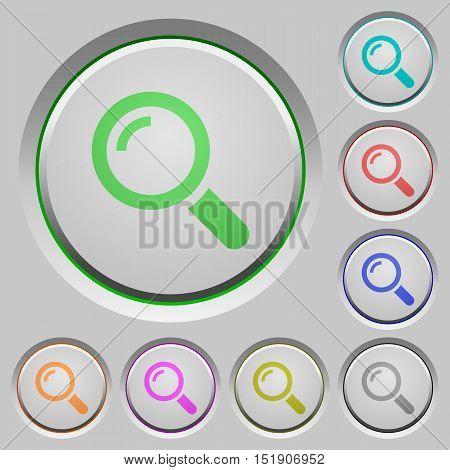 Set of color magnifier sunk push buttons.