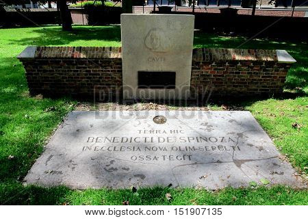 The Hague the Netherlands - July 20 2012: grave of Benedictide Spinoza