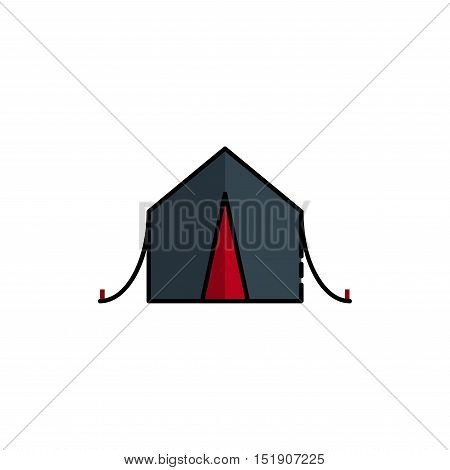 Hunting icon. Tent. Flat style Vector illustration EPS 10