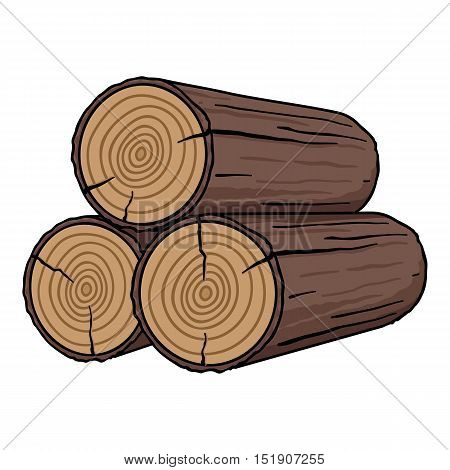 Stack of logs icon in cartoon style isolated on white background. Sawmill and timber symbol vector illustration.