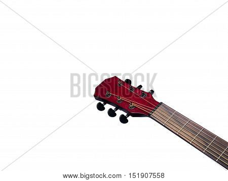 Acoustic Neck Guitar Red color close up on white background