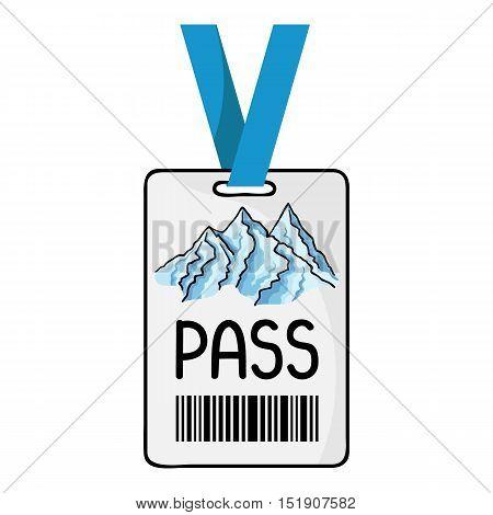 Ski pass icon in cartoon style isolated on white background. Ski resort symbol vector illustration.