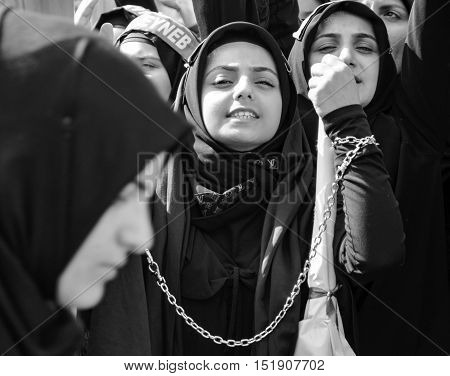 Istanbul Turkey - October 11 2016: Muslims worldwide marks Ashura Istanbul Shiite community. Caferis take part in a mourning procession marking the day of Ashura in Istanbul's Halkali region Turkey on October 11 2016. Caferi Muslims are observing the Ashu